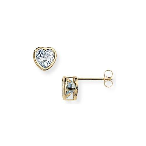 9ct Gold Topaz Heart Stud Earrings- 7mm
