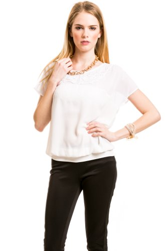 Sheer Bib Neckline Top in White