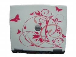 Dell Latitude D400 Laptop With White & Pink Butterfly Lid