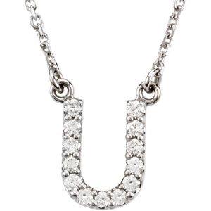 U Alphabet In Diamond Amazon.com: 14k White Gold Diamond Alphabet Letter U Necklace (1/8 ...