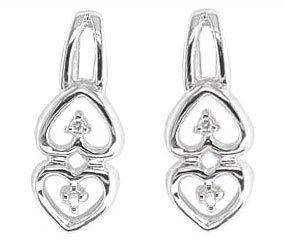 Romantic Quality Anti-Tarnish 925 Sterling Silver Ladies Diamond Drop Earrings Brilliant Cut 0.02 Carat G-VS - 16mm*6mm