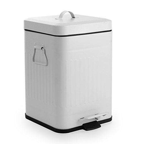 BINO Stainless Steel 1.3 Gallon / 5 Liter Square Step Trash Can, Matte White