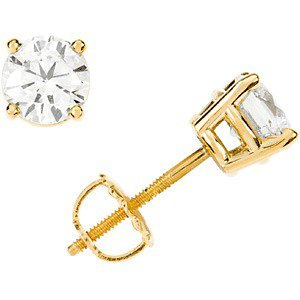 2 Ct 14k Yellow Gold Diamond Stud Earrings (2.00 Cttw, GH Color, SI1 Clarity)
