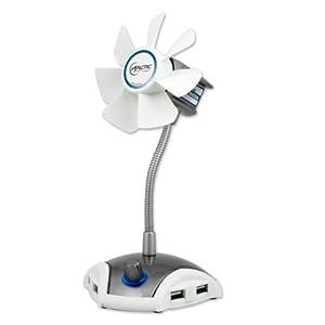 ARCTIC Breeze PRO - USB Desktop Fan with flexible Neck, 4 Port USB HUB and Adjustable Fan Speed