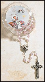 Girls Pink Baptism Rosary