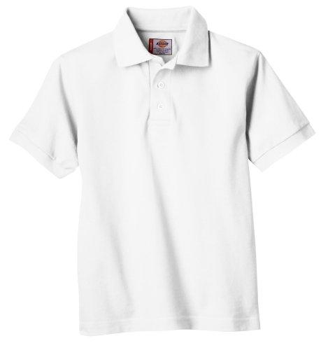 Dickies Big Boys' Short Sleeve Pique Polo, White, M (10-12)