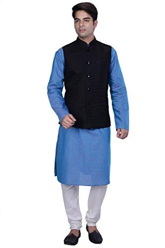 KISAH-Mens-Blue-Linen-kurta-and-Churidar-with-Grey-Cotton-Silk-Nehru-Jacket