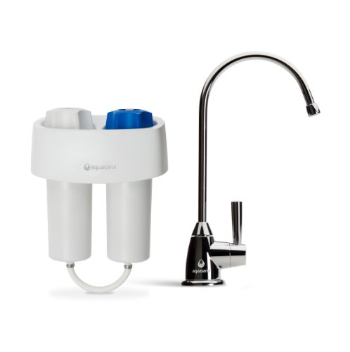 Aquasana Under Counter Water Filter System and Dedicated Faucet for Kitchen Sink in Polished Chrome Premium Finish AQ-4601.56