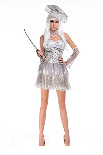 Lover-baby® Silver Trim White Hat Bell Dleeves Halloween Ghost Costume