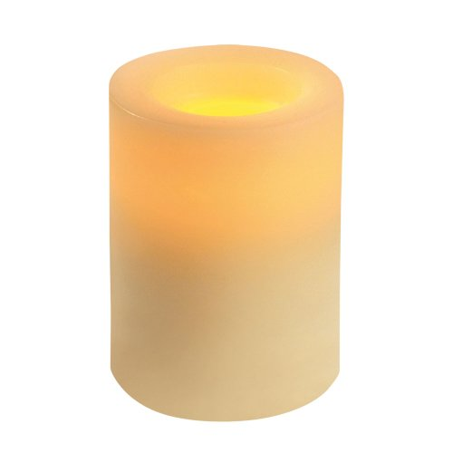 Inglow CG54400CR00 Flameless Round Pillar Candle, 4-Inch Tall, Cream