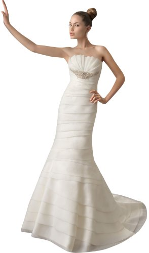 DAPENE Woman lady Modest Strapless Trumpet Fit and Flare Wedding Dress White
