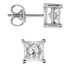 .925 Sterling Silver Stud Earrings Princess Cut Diamond Color 3.00 Carats Total Weight, Comes with a Free Gift Pouch and Gift Box.