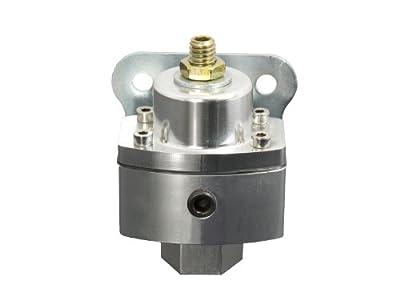"Top Street Performance JM1057CA 3/8"" NPT Clear/Clear Anodized Billet Fuel Pressure Regulator (5-12 PSI)"