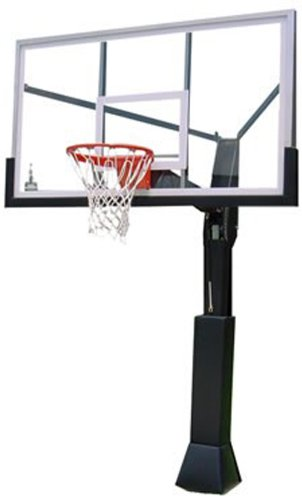 Barbarian Basketball Systems Fixed In Ground Basketball Goal With Thick Tempered Glass Backboard (72.5-Inch)