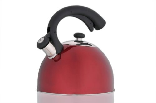 Creative Home Aero Metallic 2.5 Quart Whistling Tea Kettle, Cranberry
