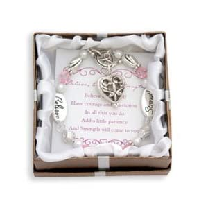 Believe, Courage, Strength Silver & Crystal Expressively Yours Bracelet