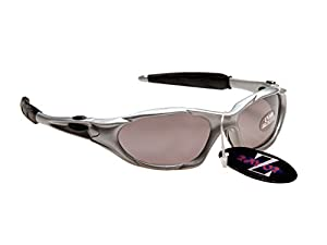 Rayzor Professional Lightweight UV400 Silver Sports Wrap Cycling Sunglasses, With a Smoked Mirrored Anti-Glare Lens.