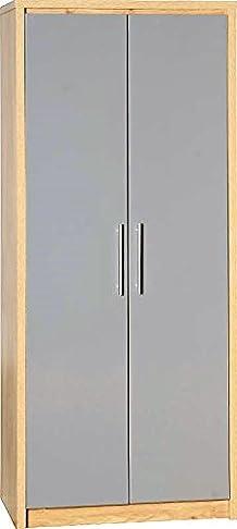 Armadio in legno di quercia e grigio lucido