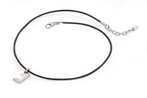 Boys Diamond Silver Dog Tag Brown Leather Necklace