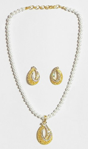 DollsofIndia White Stone Studded Party Necklace With Earrings - Stone And Metal - White - B00VI8QXNQ