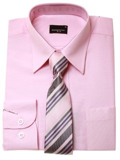 Boys Smart Shirt Tie Set Pink Shirt With Pink Purple