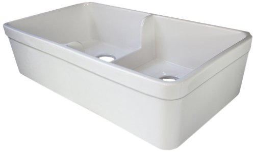 ALFI brand AB5123 32-Inch  Short Wall Double Bowl Fireclay Farmhouse Kitchen Sink with 1 3/4-Inch  Lip, White