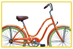 Steel Frame, Micargi Sakura 1-speed (Orange/green) Women's 26