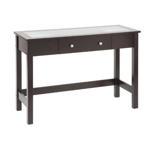 Cheap New – Sofa/Console Table with Glass Insert Top and Drawer – Espresso by Bay Shore Collection (F68304)
