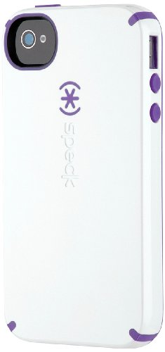 Speck Products CandyShell Glossy Case for iPhone 4/4S - 1 Pack - Carrying Case - Retail Packaging - White/Aubergine