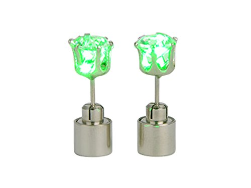 Etiger® Stylish Unisex Cool Light Led Blinking Studs Earrings Shinning Accessories For Party/Festival--One Pair (Green)