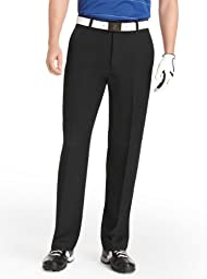 IZOD Men\'s Flat Front Classic Fit Microsanded Golf Pant, Black, 34x32