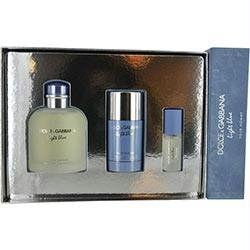 Light Blue by Dolce & Gabbana for Men 3 Piece Set Includes: 4.2 oz Eau de Toilette Spray + 2.4 oz Deodorant Stick + 8ml Eau de Toilette Travel Spray