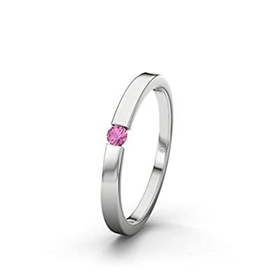 21DIAMONDS Padua Pink Tourmaline Brilliant Cut Women's Ring - Silver Engagement Ring