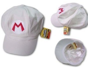 Super Mario Bros Brothers Fire ball White Hat cap
