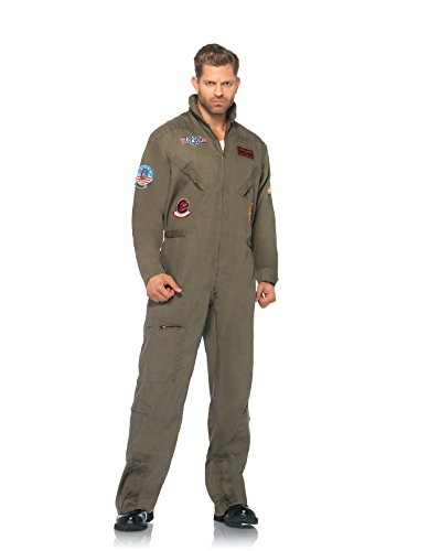 Men's Top Gun Flight Suit Costume. This official costume features a zipper front flight suit with air force patches and interchangeable Maverick and Goose name tags - S to 3XL