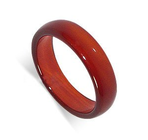 Carnelian 6mm Band Gemstone Ring Size 7.5