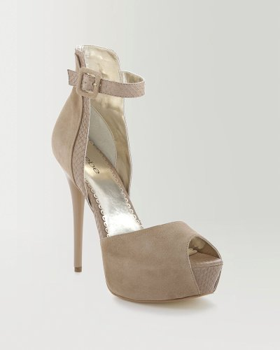 Bebe Lucie Leather Peep Toe Sandal Beige Size 8 B(M) US