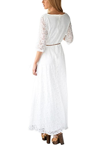 Lookbookstore Women's 3/4 Sleeve Lace Maxi Dress With Belt Size US 16