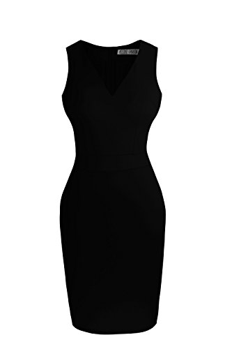 Heloise Women's Bodycon Sleeveless V-Neck Little Black Cocktail Party Dress (S, Black) (Teenager Dress Form compare prices)
