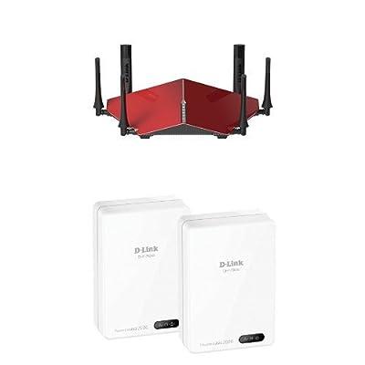 D-LINK AC3200 Ultra Tri-Band Wi-Fi Router and Powerline AV2 2000 Adapter Gigabit Extender Starter Kit