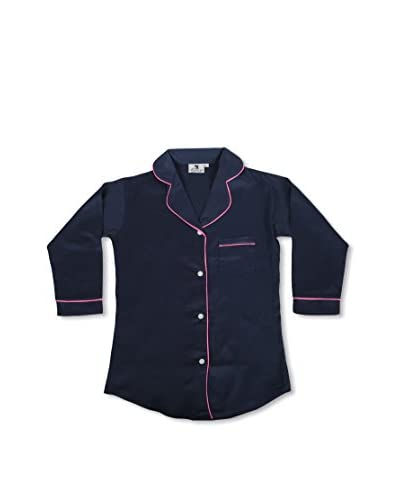 Malabar Bay Sateen Sleep Shirt  [Navy/Pink]