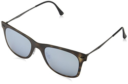 Ray-Ban-INJECTED-MAN-SUNGLASS-MATTE-HAVANA-Frame-GREY-FLASH-Lenses-50mm-Non-Polarized