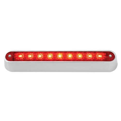 "Grand General 76092 Red 6-1/2"" 9-Led Sealed Light Bar With Chrome Base And 3 Wires For Dual Function"