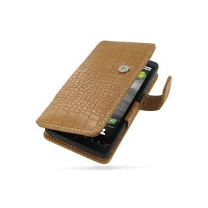 PDair Leather case for Motorola DROID X MB810 - Book Type (Brown/Crocodile Pattern)