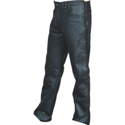 Full Side Lace Panel Bikers Leather Motorcycle Jeans Classic 5 Pocket (42R) - 42R