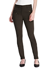 M&S Collection Cotton Rich Double Zip Trousers