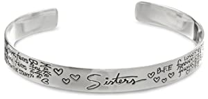 Sterling Silver Sisters Themed Graffiti Cuff Bracelet from Amazon Curated Collection