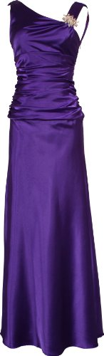 Cowl-Back Satin Long Gown with Crystal Pin Junior Plus Size