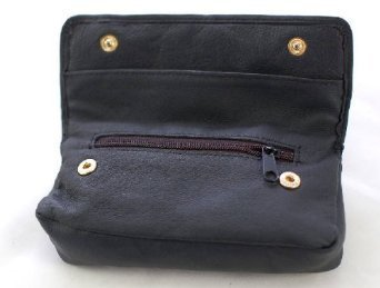 Soft Black Nappa Leather Tobacco Pouch with Rubberised Lining - Holds 50g