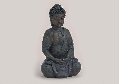 deko buddha sitzend ca 29cm hoch in wei buddha figur. Black Bedroom Furniture Sets. Home Design Ideas